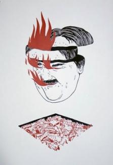 Atelier McClane Sérigraphie 2 couleurs, noir et rouge 65x45cm